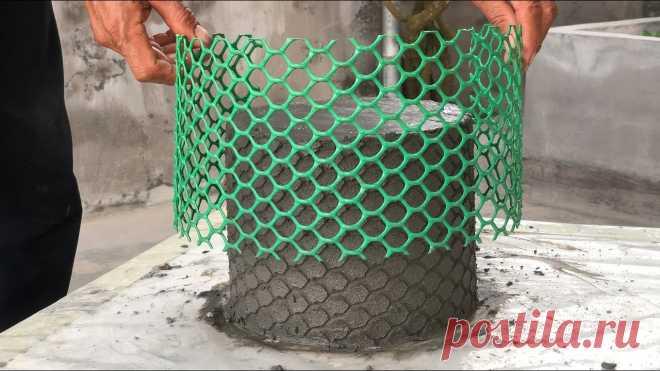 Как сделать уникальный цветочный горшок из пластиковой сетки и цемента