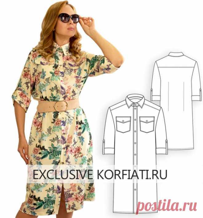 Готовая выкройка платья-рубашки для скачивания от А. Корфиати