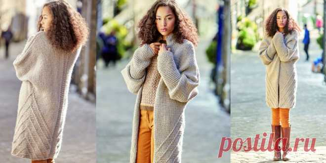 пальто из толстой пряжи Wilshaw вязание пальто из толстой пряжи