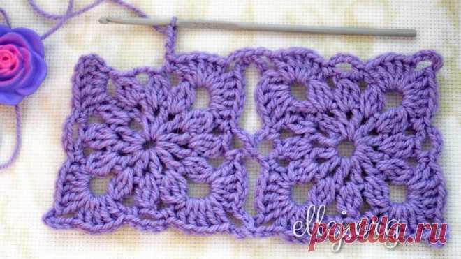 Безотрывное вязание квадратных мотивов | Вязание крючком от Елены Кожухарь