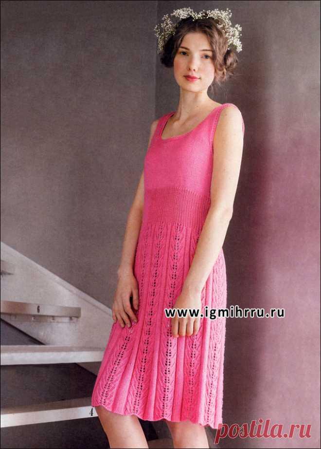 Летнее платье малинового цвета. Спицы
