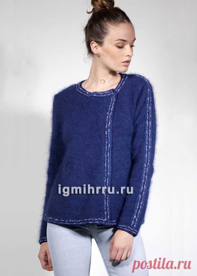 французская элегантность синий жакет с отделкой кантом вязание