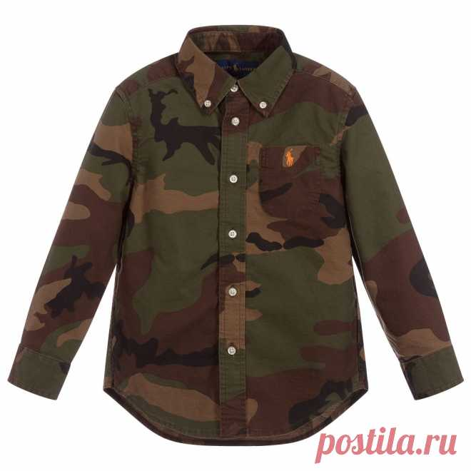 Boys Green Cotton Camo Shirt A green khaki shirt made in cotton twill by Polo Ralph Lauren, with a camo print and buttoned-down collar. It has the Pony logo embroidered in orange on the chest.