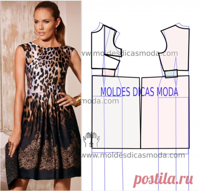 75287651f Vestido leopardo molde passo a passo - Moldes moda por medida Para ...