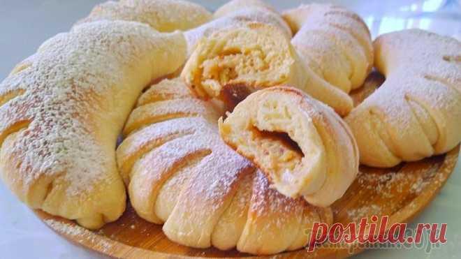 Булочки пуховые с заварным ореховым кремом