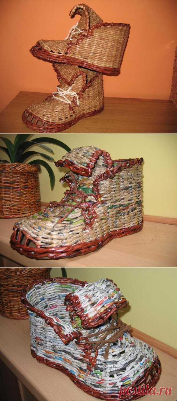 Ботинок - кашпо для цветов из газет. 2-й вариант