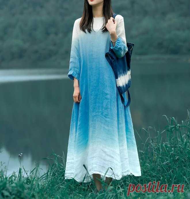 Summer linen dress maxi dress Gradient color dress cocktail   Etsy