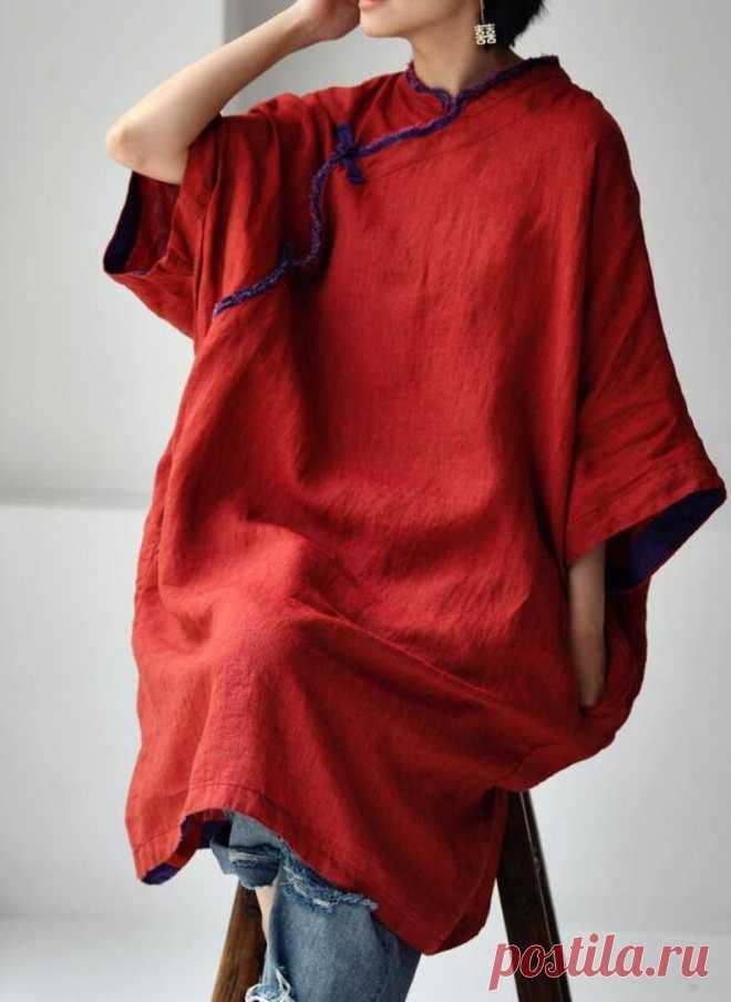 Linen midi dress for women linen dress with pockets large | Etsy