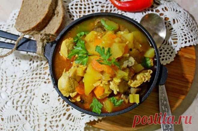 Тушеные овощи с курицей в мультиварке — Sloosh – кулинарные рецепты