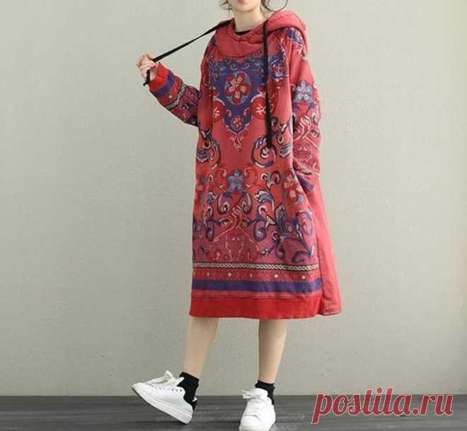 Women Hooded midi dress longsleeved dress Loose bottoming | Etsy