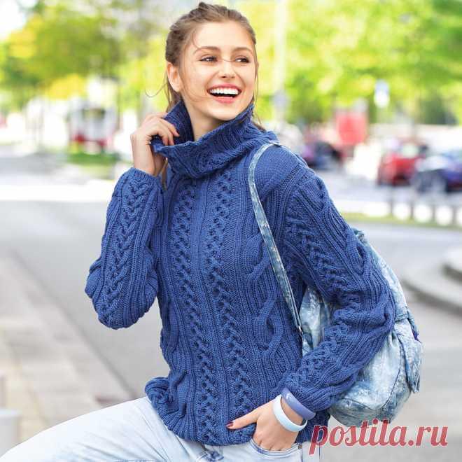 синий свитер с косами схема вязания спицами вяжем свитеры на