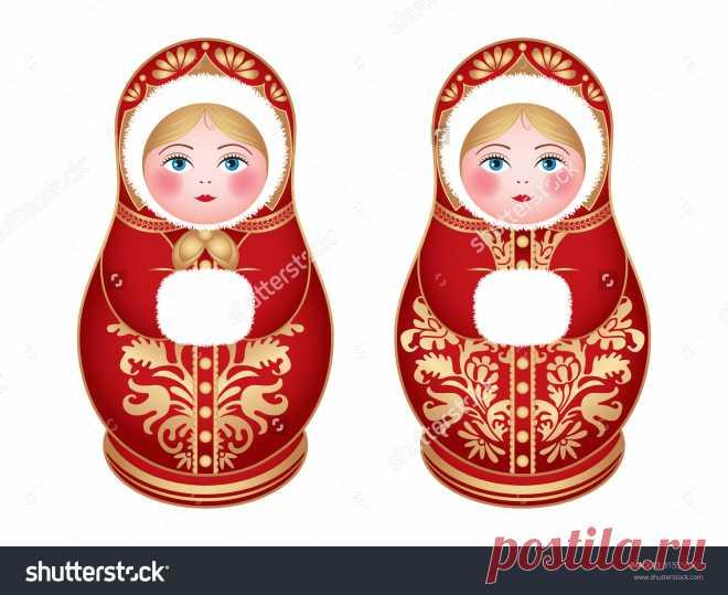 Russian Dolls Matrioshka, Babushka, Winter Style, Vector - 315556307: Shutterstock