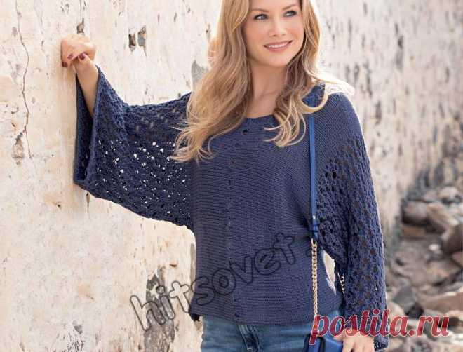 Пуловер поперек спицами - Хитсовет Вязание спицами поперек единым полотном свободного летнего пуловера для женщин со схемой и бесплатным описанием вязания.