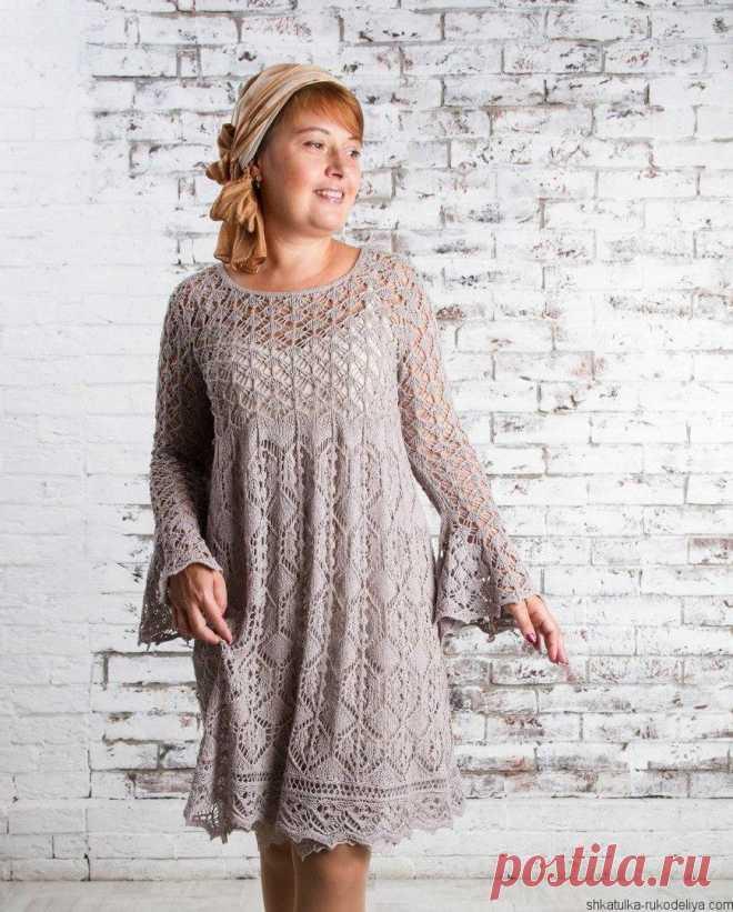 c93b2bd3e8e Вязаные платья спицами 2018. Ажурное женское платье со схемами Вязаные  платья спицами 2018. Ажурное