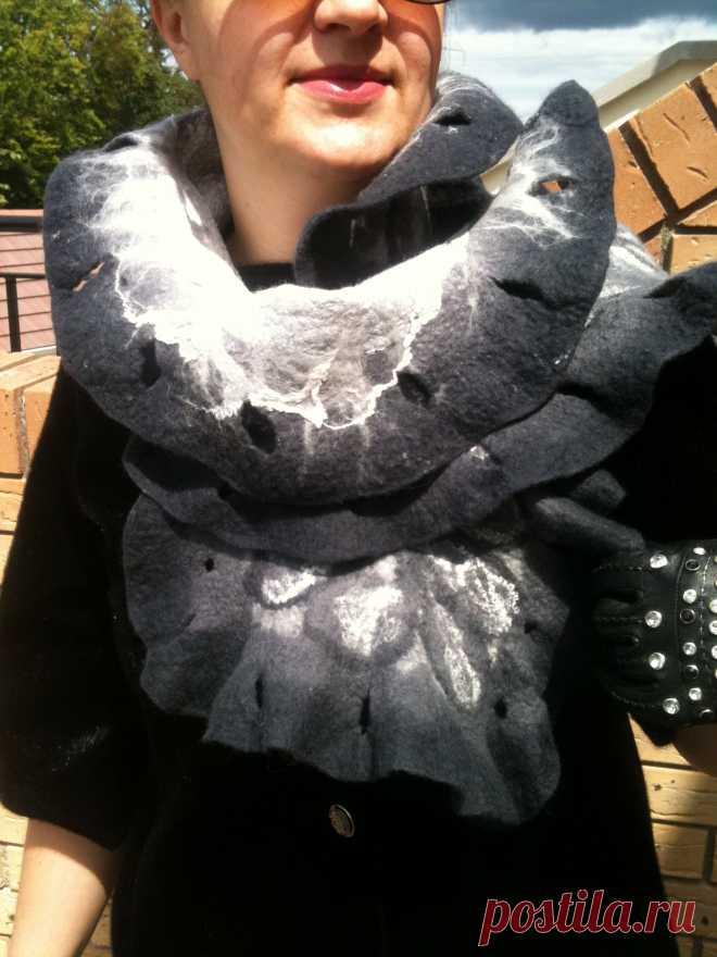 шарф -капуста. декорирован шелком