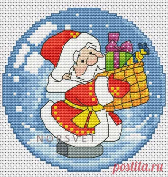 Gallery.ru / Шар.Дед Мороз с подарком - Новогоднее - Norsvet