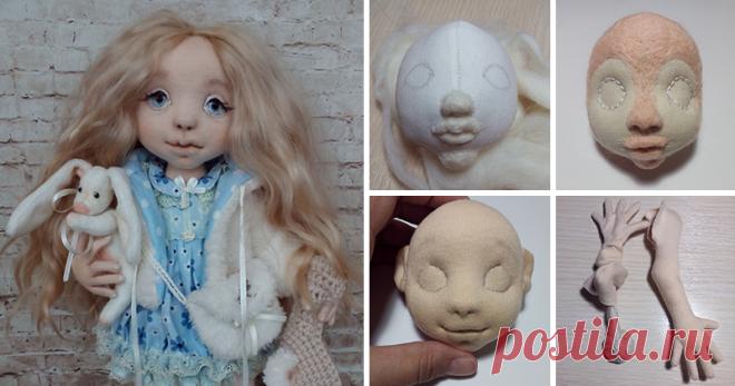 Рождение текстильной куклы Куколками я увлеклась год назад. Хочу поделиться с вами своими наработками Первым делом шью голову, делая заготовку, из хлопка или бязи. Наполнитель я использую холлофайбер или синтепух. Намечаю личико. Иглой для валяния приваливаю носик, используя шерсть для валяния, затем губки и бороду. Кусочком трикотажа проверяю, как будет выглядеть. Прошиваю глазки, набиваю шерсть на переносицу…