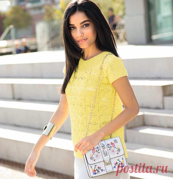 Желтый джемпер с короткими рукавами - схема вязания спицами. Вяжем Джемперы на Verena.ru
