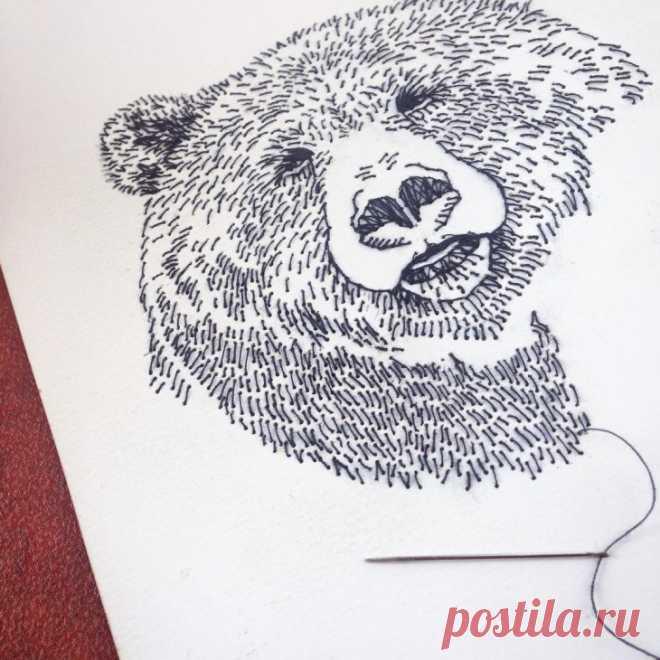Вышитый медведь Модная одежда и дизайн интерьера своими руками