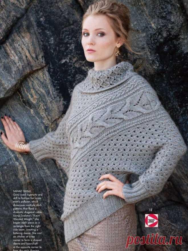 В стиле Vogue: асимметричный пуловер спицами. 3 размера.