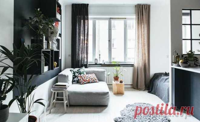 Уютная скандинавская квартирка 33 м² Эта скандинавская студия площадью 33 квадратных метра — отличный пример того, как в маленьком пространстве можно собрать все удачные дизайнерские приемы: светлая основа, акцентная стена оттенка мокрог...