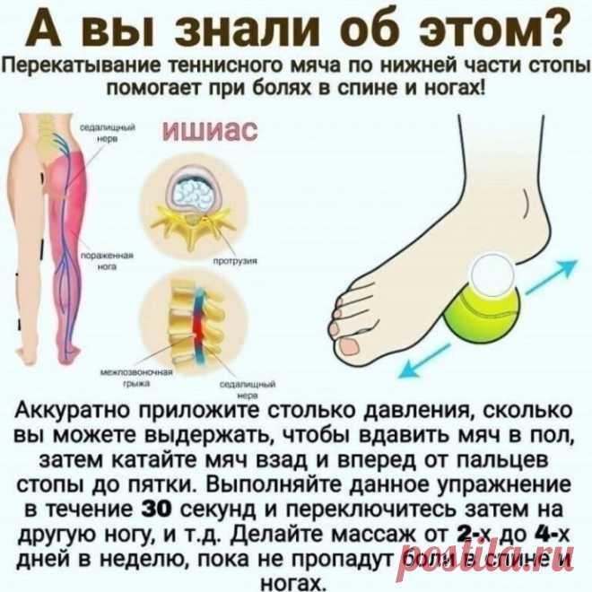 Как убрать боль в спине и ногах с помощью катания мяча