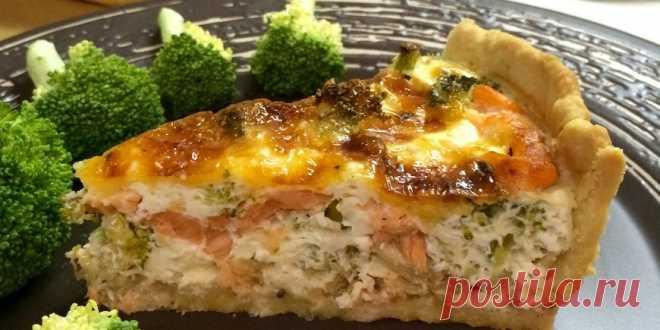 Kish with a salmon.