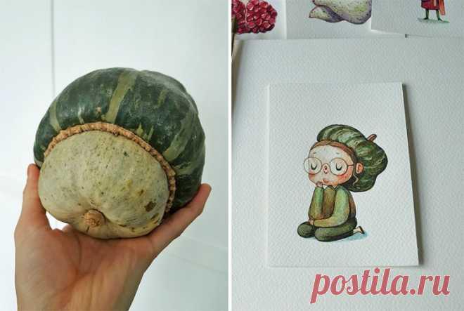 Представьте, как бы выглядели овощи и фрукты, будь они людьми!? Иллюстрации Марии Тюриной