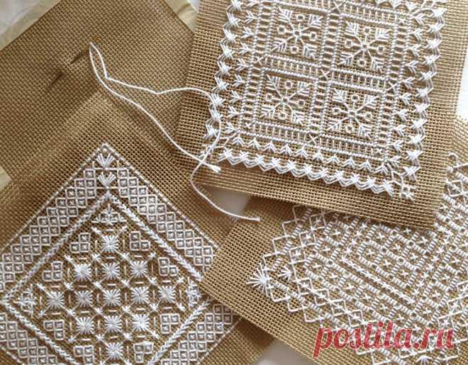 Маленькие схемы вышивки монохром -- 4 мотива      Маленькие схемы вышивки монохром в виде квадратных мотивов отлично подойдут для декорирования подушек, вышивки игольниц и разнообразных «кривулек» типа бискорню.  Маленькие схемы вышивки монохром…