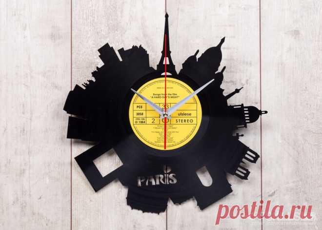 Часы из виниловой пластинки «Париж» купить подарок в ArtSkills: фото, цена, отзывы