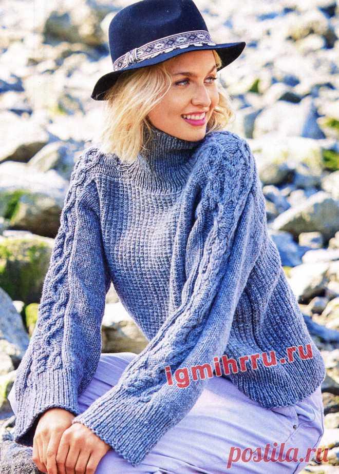 Теплый свитер с тканым узором и «косами». Вязание спицами со схемами и описанием