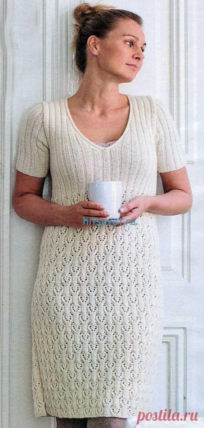 Белое платье спицами с ажурным узором - Хитсовет