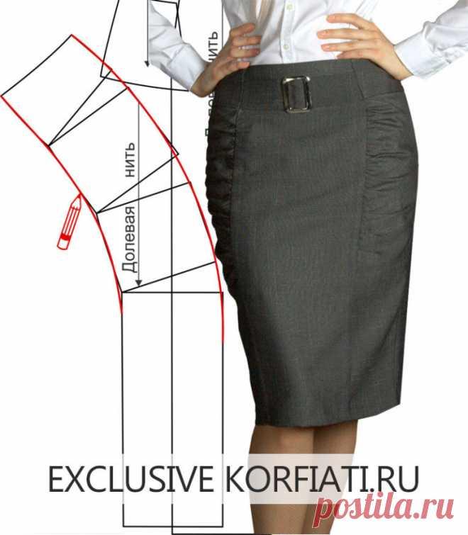 aa87e1210a4 Идеально для офиса! Шьем прямую юбку с драпировкой https   korfiati ...