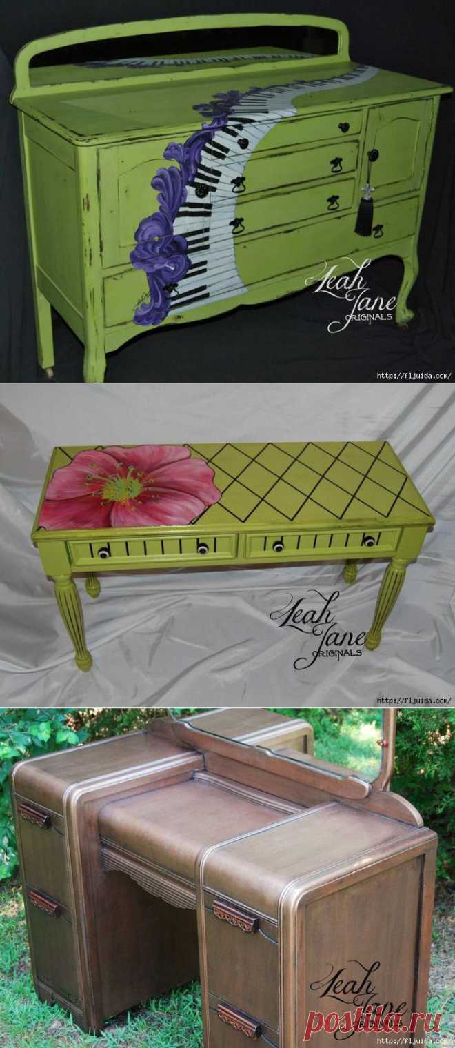 Интересный декупаж и роспись мебели