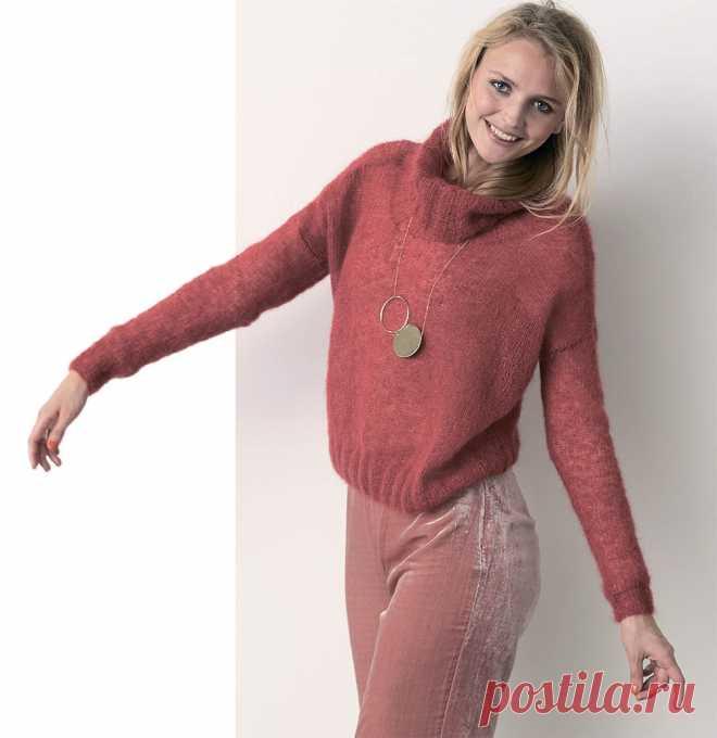 короткий мохеровый свитер схема вязания спицами вяжем свитеры на