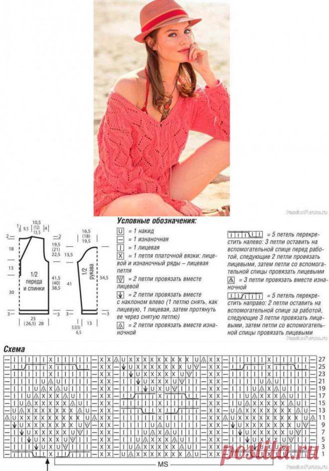 Пуловер со структурным узором | Вязание для женщин спицами. Схемы вязания спицами