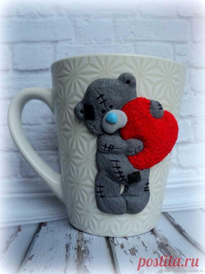 bb70c421cf8 Кружка с декором из полимерной глины (мишка тедди) – купить в интернет- магазине