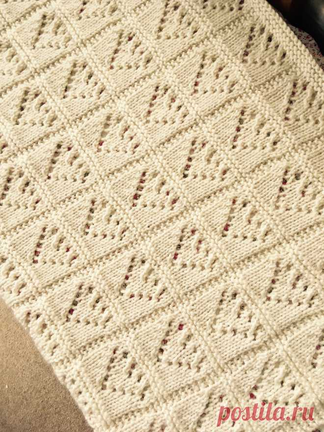 Lace Hearts Baby Blanket Knitting Pattern PDF Aran Worsted