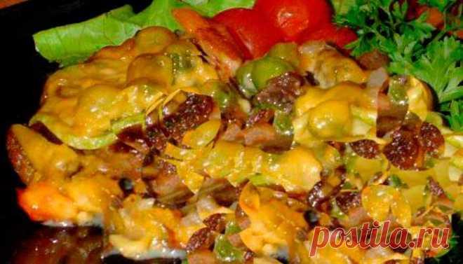 Мясная запеканка с овощами под плавленым сыром | Fresh-Recipes