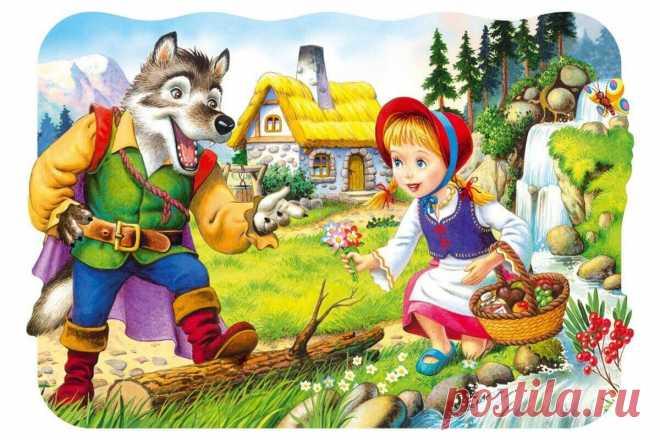 Иллюстрация к сказке про девочку Красную Шапочку, которая несла пирожки своей бабушке и повстречала злого серого волка. Самая любимая сказка всех ребятишек!