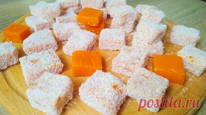 Потрясающе вкусный десерт из тыквы в кокосовой стружке — Кулинарная книга