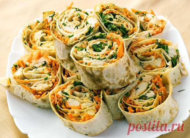 Рулет из лаваша: рецепт с куриным филе, яйцом и корейской морковью - tochka.net