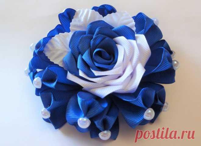 Роза канзаши из репсовых лент в сине-белой гамме: мастер-класс по изготовлению