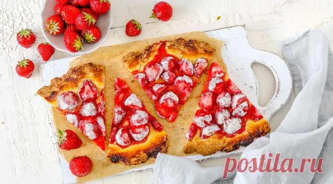 Песочный пирог с клубникой, пошаговый рецепт с фото