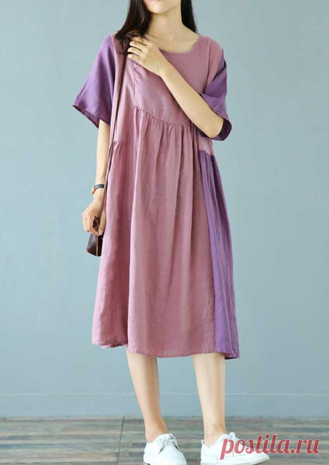 Womens summer midi dress stitched Linen dress for women | Etsy