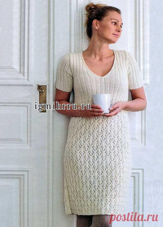 Белое шерстяное платье с красивым ажурным узором. Вязание спицами