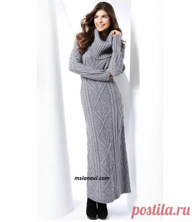 Длинное вязаное платье | Вяжем с Лана Ви