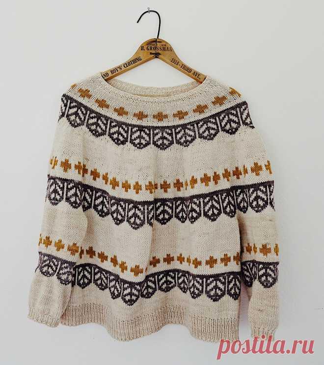Пуловер с графическим жаккардовым узором спицами