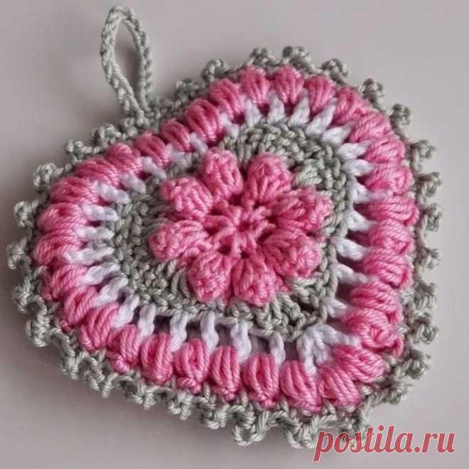 Объемное сердечко крючком