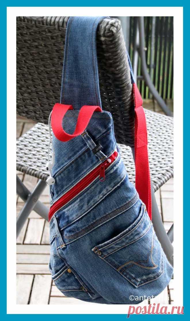 Сумка через плечо из джинсов